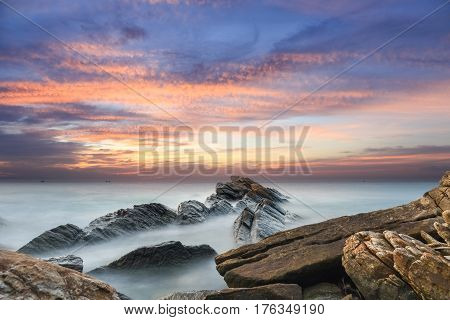 beautiful seascape in sunset the reef long exposure time