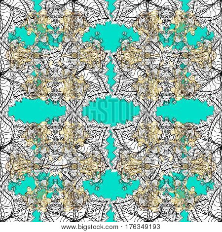 Seamless oriental ornament in the style of baroque. Vector traditional classic white seamless pattern on blue background.