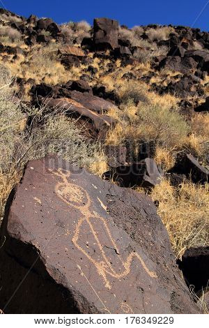 Ancient Native American Rock Art along the Rinconada Trail in Petroglyph National Monument, New Mexico