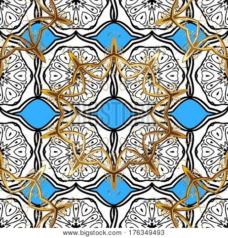 Seamless pattern oriental ornament. Golden pattern on blue background with golden elements. Vector golden textile print. Floral tiles. Islamic design.