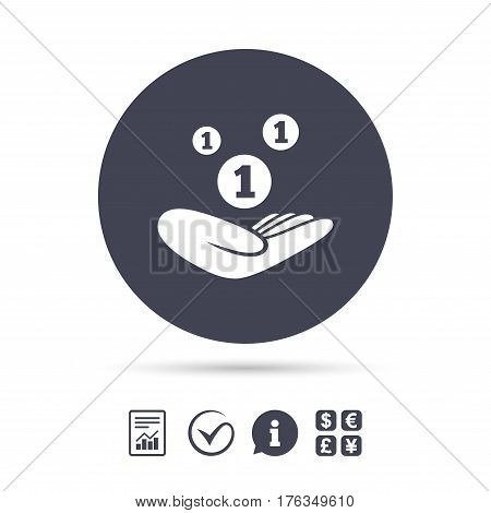 Donation hand sign icon. Hand holds coins. Charity or endowment symbol. Human helping hand palm. Report document, information and check tick icons. Currency exchange. Vector