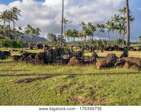 Ancient Hawaiian temple, or Heiau, located on the eastern shore of Kauai close to the the mouth of the Wailua River.