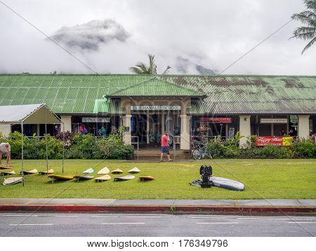 KAUAI, USA - MAR 4: Old Hanalei School shopping area on March 4, 2017 on Kauai, Hawaii. Hanalei is one of the most popular tourist areas on the island of Kauai and is on the north shore.