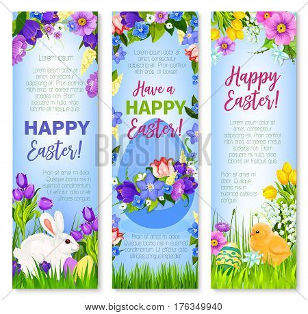 Easter banners with eggs, bunny and chick for paschal hunt greetings. Spring flowers bunch of crocuses, daffodils, narcissus, lily tulips. Happy Easter vector design for Holy Sunday religion holiday