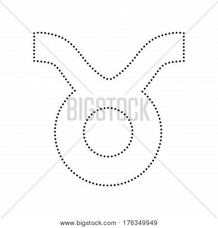Taurus sign illustration. Vector. Black dotted icon on white background. Isolated.