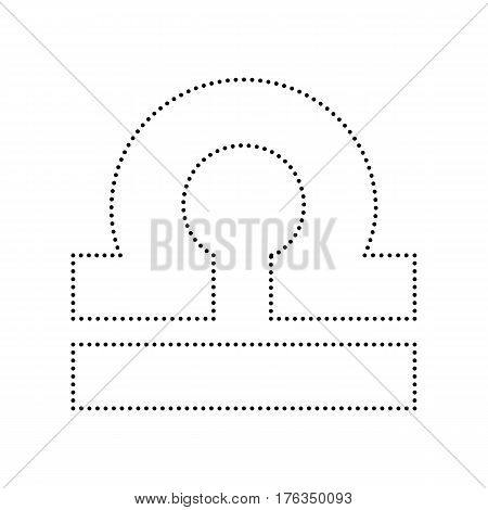 Libra sign illustration. Vector. Black dotted icon on white background. Isolated.
