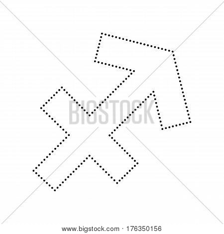 Sagittarius sign illustration. Vector. Black dotted icon on white background. Isolated.