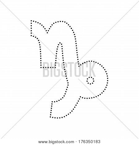 Capricorn sign illustration. Vector. Black dotted icon on white background. Isolated.