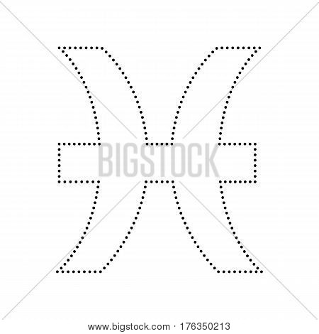 Pisces sign illustration. Vector. Black dotted icon on white background. Isolated.