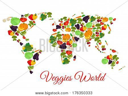 Vegetables world map of vector veggies pumpkin, eggplant or zucchini squash and corn, carrot or potato and tomato, chili or bell pepper and cauliflower cabbage, onion, radish or beet and cucumber