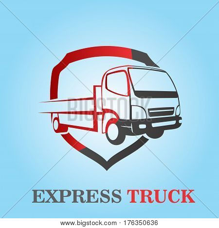 logo illustration small truck protection service on blue background
