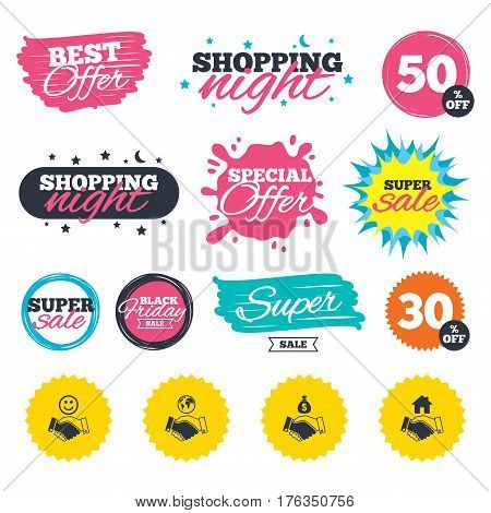 Sale shopping banners. Special offer splash. Handshake icons. World, Smile happy face and house building symbol. Dollar cash money bag. Amicable agreement. Web badges and stickers. Best offer. Vector