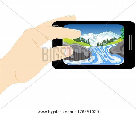 Mobile telephone with picture of the nature in hand of the person