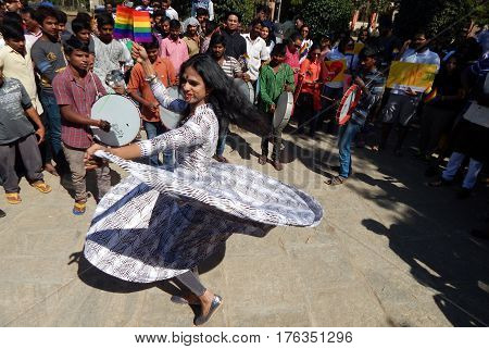 HYDERABAD,FEBRUARY 19: LGBT activist dancing holding a balance demanding equality during Queer Swabhimana Yatra 2017 on February 19,2017 in Hyderabad