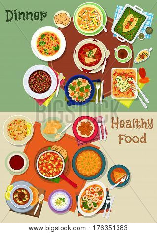 Healthy dinner food icon of vegetable pasta, beef, bean and beet soup, spanish vegetable and seafood stew, meat paella, pumpkin rice, baked fish, jewish milk dessert, semolina cake and falafel