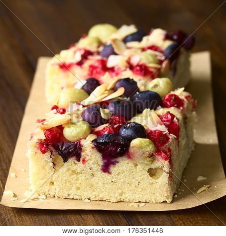 Homemade cake with gooseberry blueberry redcurrant and coconut flakes photographed on dark wood with natural light (Selective Focus Focus on the front of the cake dough and some berries)