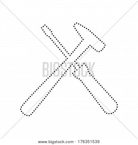 Tools sign illustration. Vector. Black dotted icon on white background. Isolated.