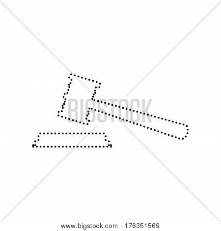 Justice hammer sign. Vector. Black dotted icon on white background. Isolated.