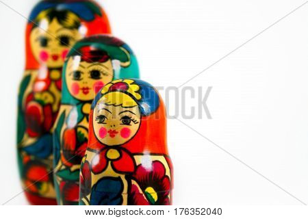 A group of three nesting dolls from Russia