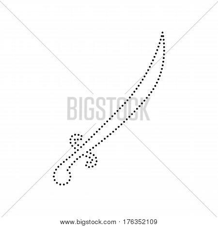 Sword sign illustration. Vector. Black dotted icon on white background. Isolated.