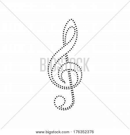 Music violin clef sign. G-clef. Treble clef. Vector. Black dotted icon on white background. Isolated.