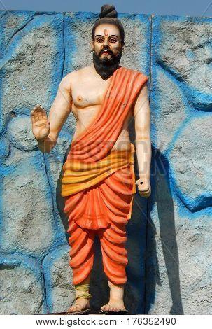 KEESARAGUTTA,HYDERABAD,INDIA;FEBRUARY 24:Sculpture of muni or guru or saint kept outside temple on Mahasivaratri day celebration,on February 24,2017 in Hyderabad,India