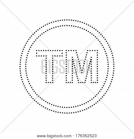 Trade mark sign. Vector. Black dotted icon on white background. Isolated.