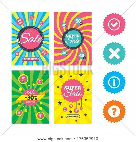 Web banners and sale posters. Information icons. Delete and question FAQ mark signs. Approved check mark symbol. Special offer and discount tags. Vector