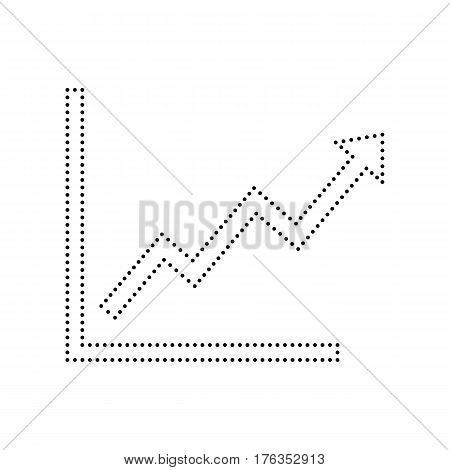 Growing bars graphic sign. Vector. Black dotted icon on white background. Isolated.