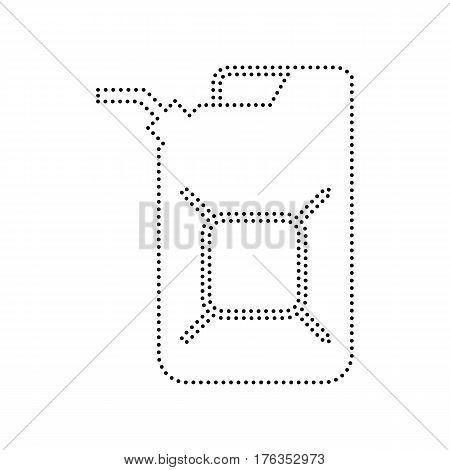 Jerrycan oil sign. Jerry can oil sign. Vector. Black dotted icon on white background. Isolated.