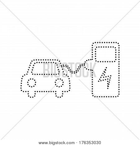Electric car battery charging sign. Vector. Black dotted icon on white background. Isolated.