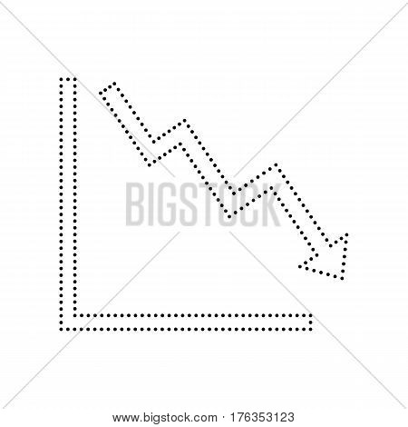 Arrow pointing downwards showing crisis. Vector. Black dotted icon on white background. Isolated.