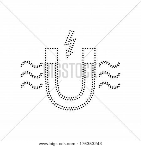 Magnet with magnetic force indication. Vector. Black dotted icon on white background. Isolated.