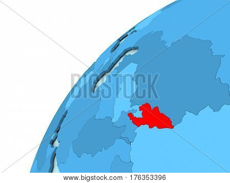 Kyrgyzstan In Red On Blue Globe