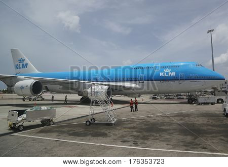 PRINCESS JULIANA AIRPORT, ST MAARTEN - JUNE 14, 2015: KLM Boeing 747 plane on tarmac at Princess Juliana Airport