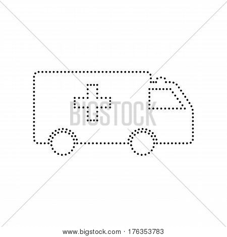 Ambulance sign illustration. Vector. Black dotted icon on white background. Isolated.