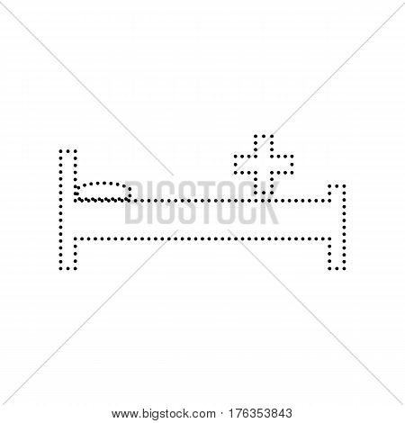 Hospital sign illustration. Vector. Black dotted icon on white background. Isolated.