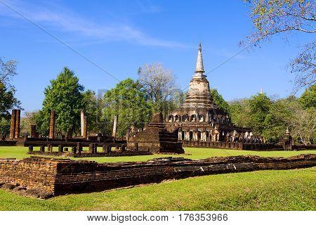 Wat Chang Lom temple and sunlihgt in Sisatchanalai Historical Park Sukhothai province Thailand