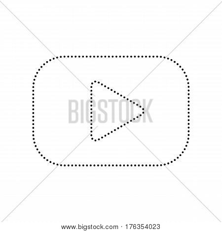 Play button sign. Vector. Black dotted icon on white background. Isolated.