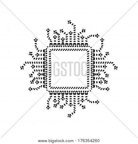 CPU Microprocessor illustration. Vector. Black dotted icon on white background. Isolated.