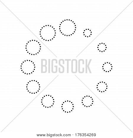 Circular loading sign. Vector. Black dotted icon on white background. Isolated.