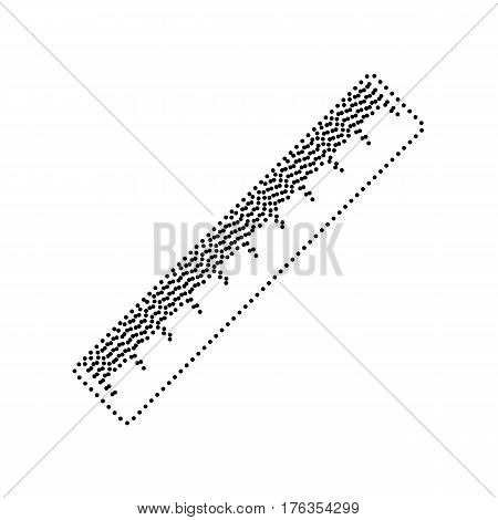 Centimeter ruler sign. Vector. Black dotted icon on white background. Isolated.