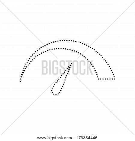 Speedometer sign illustration. Vector. Black dotted icon on white background. Isolated.