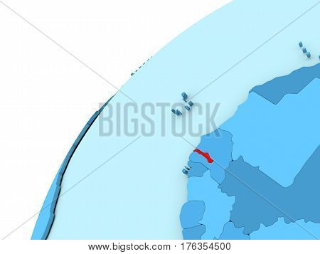 Gambia In Red On Blue Globe