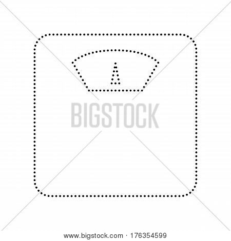 Bathroom scale sign. Vector. Black dotted icon on white background. Isolated.