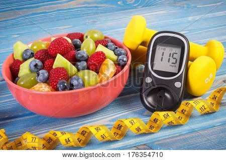 Fresh Fruit Salad, Glucometer, Centimeter And Dumbbells, Diabetes, Healthy Lifestyle And Nutrition C