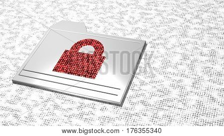 White smudge letter background with metal folder icon and red padlock filled with random letters ransomware concept 3D illustration