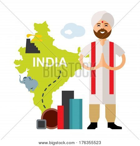 Hindu in a turban and metal products. Isolated on a white background