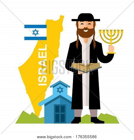 Jew reads the Tanach and holding a menorah. Isolated on a white background
