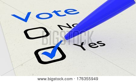Voting paper with checkboxes and a green pen setting a tickmark at yes 3D illustration